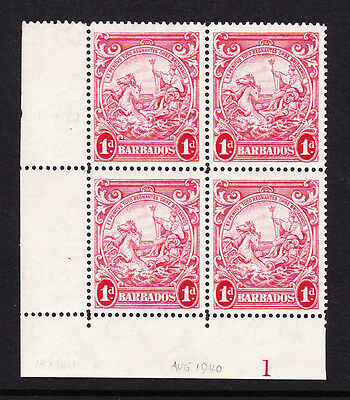 BARBADOS 1938-47 1d WITH 'SKY' AND 'TES' RE-ENTRY' R11/2 CW 19a MINT.
