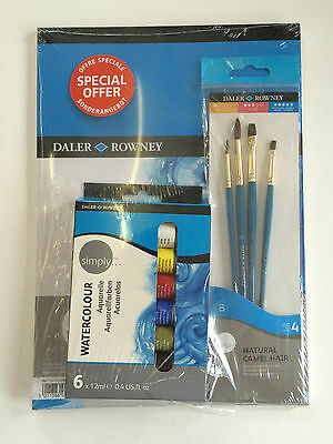 Daler Rowney Simply Watercolour Paints (6 x 12ml Colours), Brushes & A4 Pad