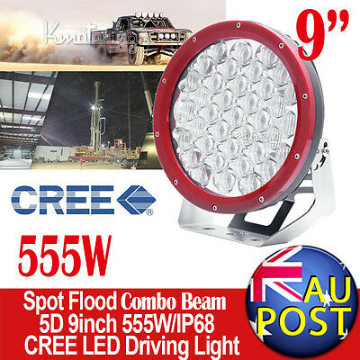 "9""inch 555W CREE 5D Spot&Flood Combo LED Driving Light SUV 4WD Wagon Red Round"