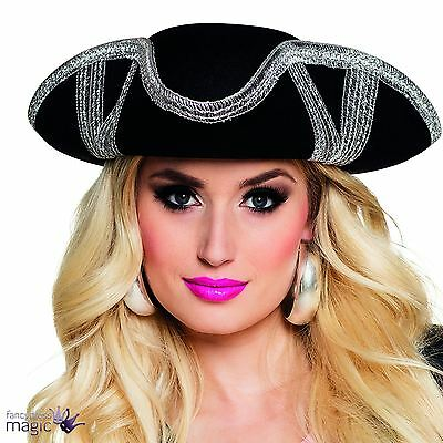 *Adult Ladies Black And Silver Pirate Tricorn Hat Fancy Dress Costume Accessory*