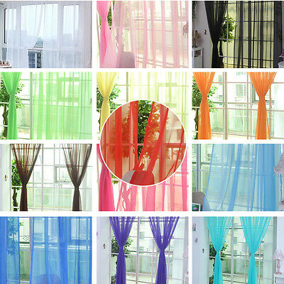 2 Pcs. Sheer Voile Window Panel curtains DRAPE 79'' SCARF MANY COLORS