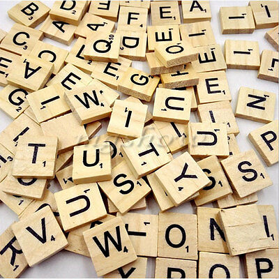 500x Wooden Alphabet Scrabble Tiles Black Letters & Numbers For Crafts Wood New