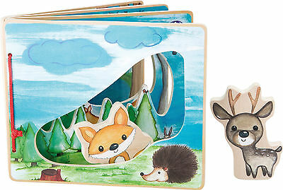 Interactive Baby Childrens Book Forest Animals Wooden Perfect Gift age 0-3