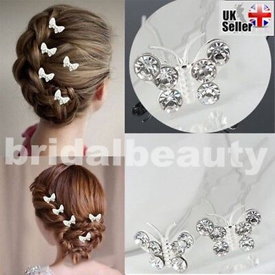 Butterfly Wedding Hair Pins Crystal Diamanté Bridesmaid Bridal Hair Clips Grips