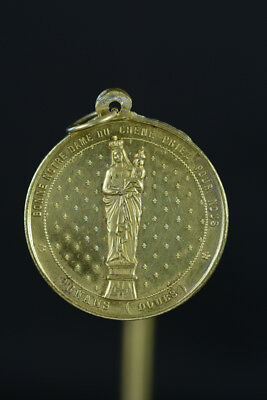 French religious Pendant Medal 1Our Lady of Oaks Virgin Child Bronze 19THc
