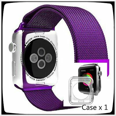 Purple Stainless Steel  Mesh Metal Band Strap For Apple Watch 38mm Milanese