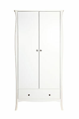 Baroloque White Painted 2 Door 1 Drawer Wardrobe - French Style Furniture