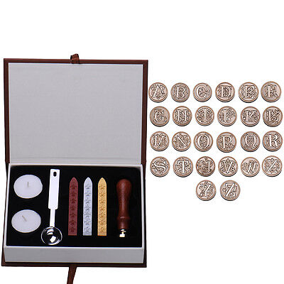 Gold Plated Head European Style Rosewood Handle Wax Sealing Stamps Set Alphabet