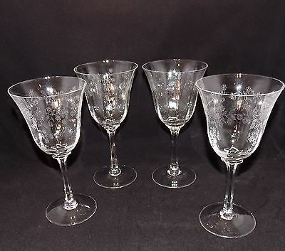 Set of 4 Antique Etched Crystal Stemware Wine Water Glasses Goblets - 7.5""