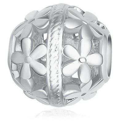 Nahla Jewels Silbercharm Sterling Silber 925/- Silberbead Bead mit Blume Beads