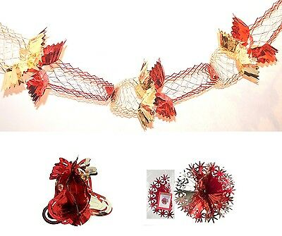 Red Gold- Christmas Foil Ceiling Hanging Decorations Garlands Stars Snowflake