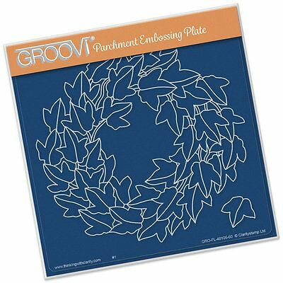CLARITY STAMP GROOVI Parchment Embossing Plate IVY WREATH GRO-FL-40106-03