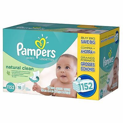 Pampers Natural Clean Hypoallergenic Baby Wipe Refills,  72-Count, 16-Pack