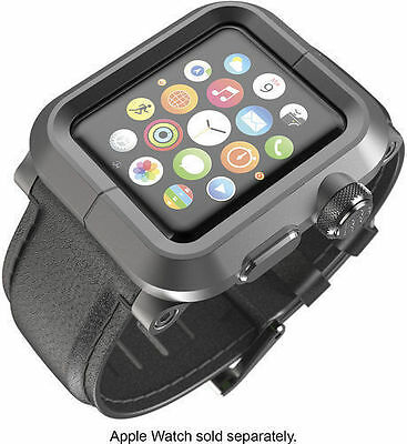 LUNATIK EPIK-010 - Black Aluminum & Black Leather Band for Apple Watch 42mm - NO