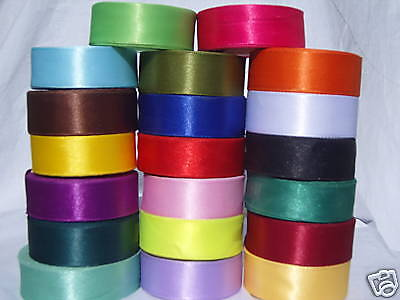 "20 ROLLS x 25mm/ 1"" inch Satin RIBBON, 20 COLORS , Cheapest Bargain"