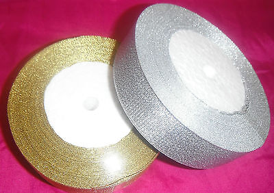 "2 ROLLS Metallic Organza Ribbon 1 Gold & 1 Silver 25mm/1"", 25 Yards each"