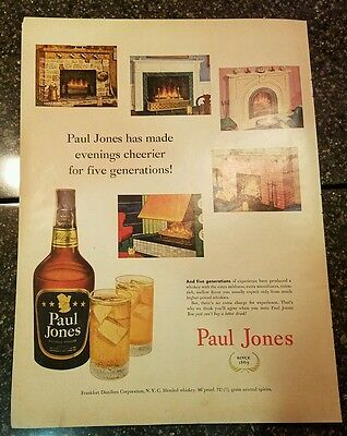 "1952 Paul Jones Whiskey Vintage Magazine Ad ""and five generations..."""