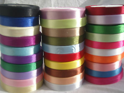 Satin Ribbon New 30 Rolls of 12 mm 30 different Colors, 750 Yards, High quality