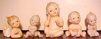 "5 Gorgeous Napcoware Bisque Porcelain Baby 4"" & 2"" Figurines, Japan V. Good Cond"