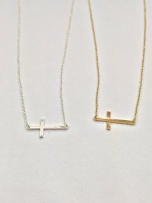 Beautiful Cross Charm Pendant Necklaces Chain Silver or Gold