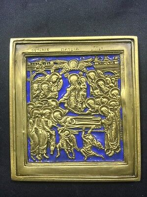 Russia Orthodox Bronze Icon The Dormition 19th Century Enameled A2559