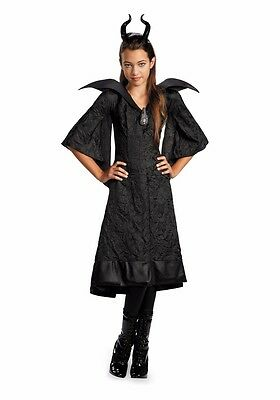 Childs Deluxe Maleficent Costume Christening Black Gown Dress - M 7-8, L 10-12