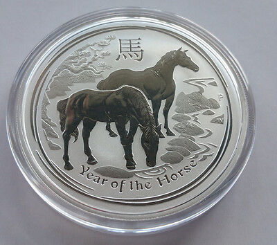 2 oz Silver coin Year of the Horse 2014 Capsule Perth Mint Sent from Australia.