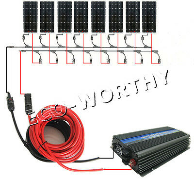 1200W Grid Tie System:8*160W Mono Solar Panel w/1KW Pure Sine Inverter for Home