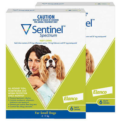 Sentinel Spectrum Green 12 pack Chews for dogs 4-11kg Small Dogs