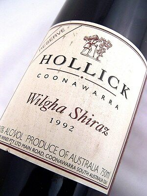 1992 HOLLICK Wilgha Shiraz - Excellent 25th Gift Isle of Wine