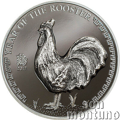 2017 Mongolia YEAR OF THE ROOSTER - Black Proof Chinese Lunar Zodiac Silver Coin