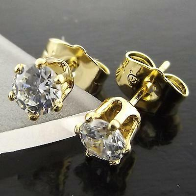 A046+A618 Genuine Real 18K Yellow G/f Gold Diamond Simulated Stud Earrings