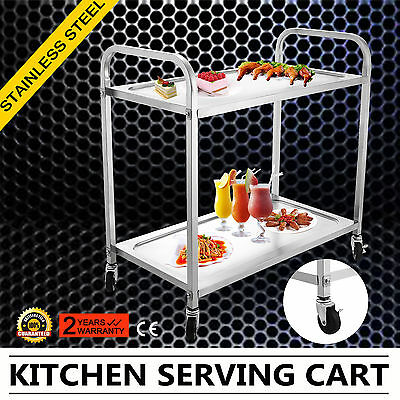 Stainless Steel Catering Serving Trolley Cart 2 Tier Service 2 Shelves WELL MADE
