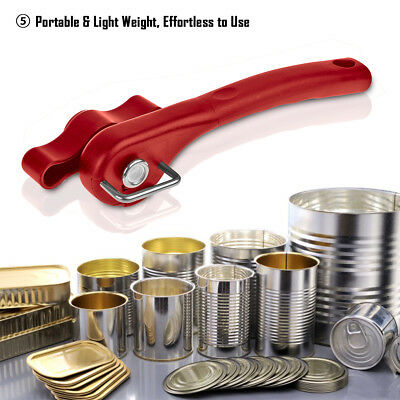 Red Ergonomic Smooth Edge Side Cut Manual Tin Can Opener Cans Lid Lifter Kitchen