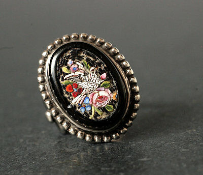 White Dove & Rose Micro Mosaic Ring with Silver Mount, Italy, Antique