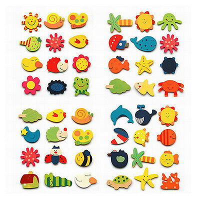 12 Fridge Magnet Wooden Cartoon Animals Novelty Magnets Colourful Children's Fun