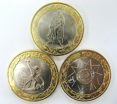Russia 10 roubles BIMETALLIC 3 coins set 2015 70 Years of Victory in WWII  UNC