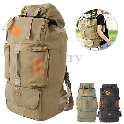 80L Large Canvas Backpack Rucksack Bag Outdoor Hiking Camping Travel Trekking AU