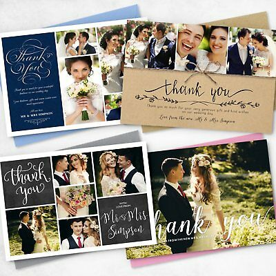 Premium Personalised Wedding Thank You Cards with Photo + FREE Envelopes (G1)