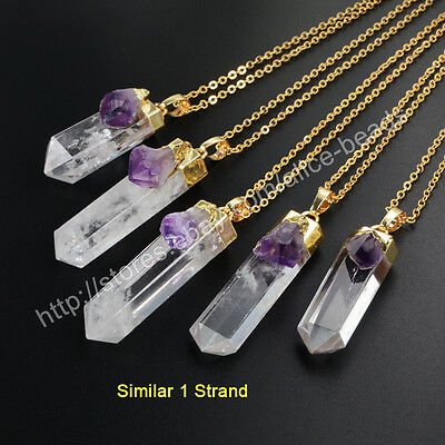 1Pcs Natural Quartz Clear Crystal Point & Amethyst Gold Plated Necklace HWX009-N
