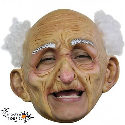 *Adult Deluxe Old Man Halloween Scary Fancy Dress Full Latex Head Chinless Mask*