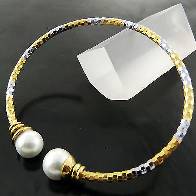 A652 Genuine Real 18K Yellow White G/f Gold Ladies Pearl Cuff Bangle Bracelet
