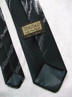 TOOTAL VINTAGE WIDE TIE 1970s 1980s CASUAL MOD MODERNIST BLACK ABSTRACT DESIGN