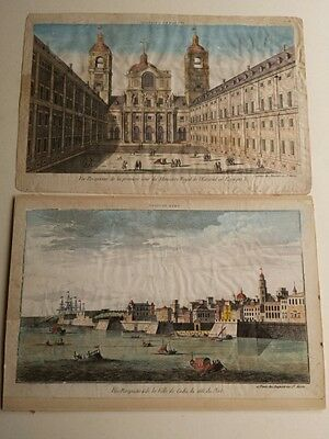 Pair of large antique hand coloured engravings, Madrid and Cadiz, Spain