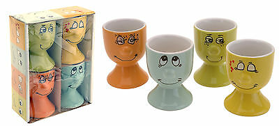 Eggcup x 4 Laughing Face Design Egg Cup Set