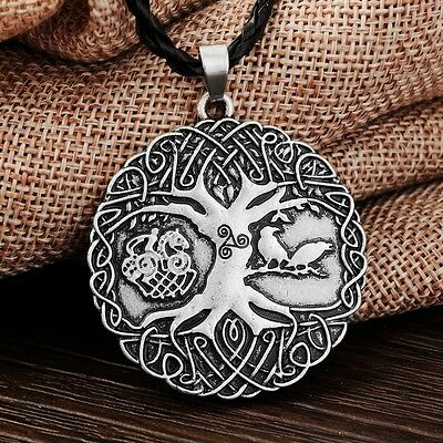 Antique Silver Plt Warriors Tree of Life Pendant Necklace Gift Viking Norse