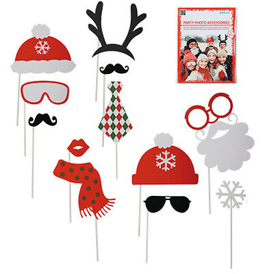 12Pc Photo Booth Selfie Props Picture Frame Xmas Party Christmas Fun Gift New