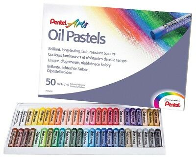 Pentel Oil Pastel Set Artists Fade Resistant Colour Oil Pastels (50 Piece Set)