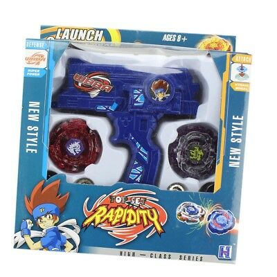 Top Rapidity 4D Launcher Grip Metal Rare Beyblade Set Fusion Fight Master Blue