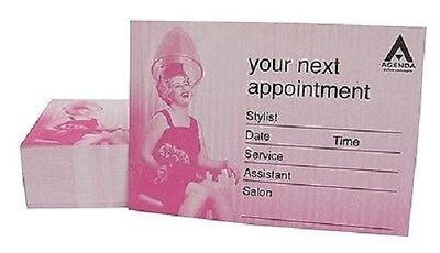 100 x Agenda PINK Retro Hairdressing Salon Appointment Cards - AP13